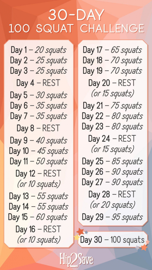our 30 day 100 squat challenge is here its free requires printable squat challenge