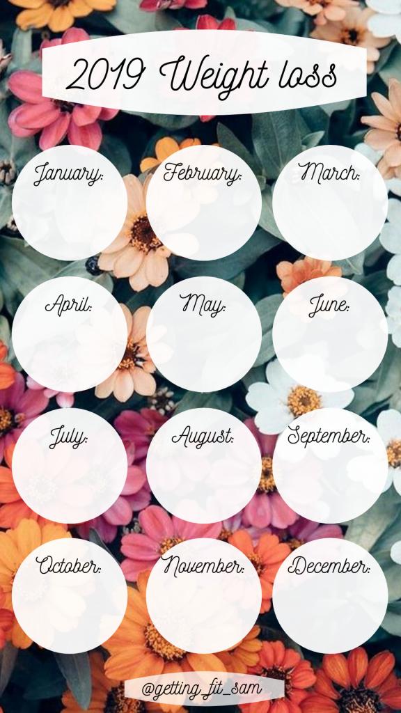 pin on 2019 2020 weight loss calendar template