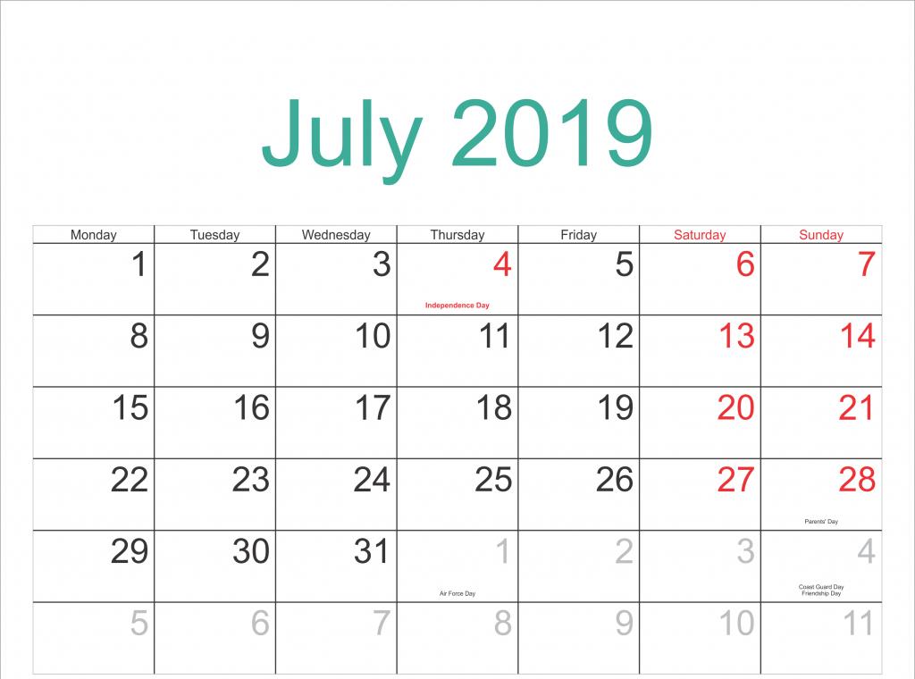 pin on july 2019 printable calendar printable countdown calendar to 12th july