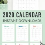 Printable 2020 Calendar A Pretty Monthly Calendar Planner Create My Own Calendar Free Printable 2020