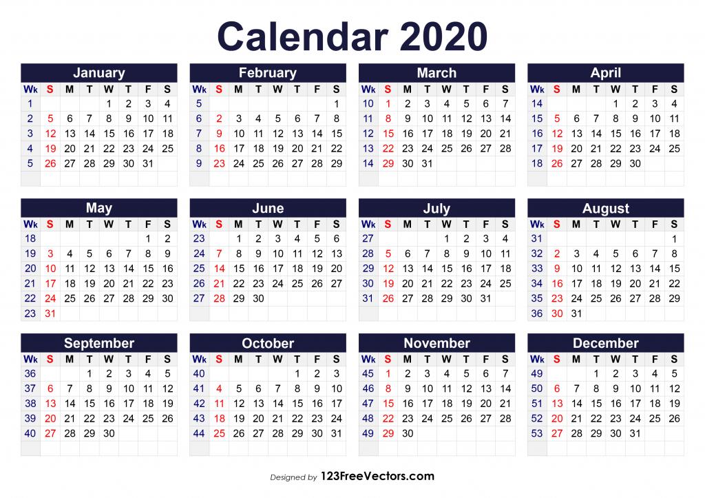 printable 2020 calendar with week numbers print 6 week calendar