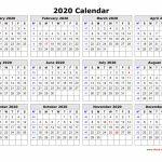 Printable One Page 2020 Calendar Kaldebwongco 2020 Calendar Print Free