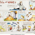 Record An Original Calvin Hobbes Sunday Strip Sold At Calvin Amd Hobbes Calemdar