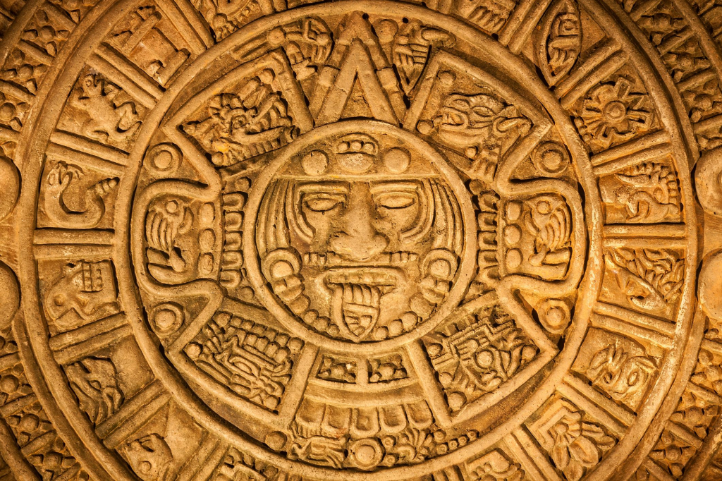 reproduction of the ancient mayan calendar found in chichen mayan calendar found