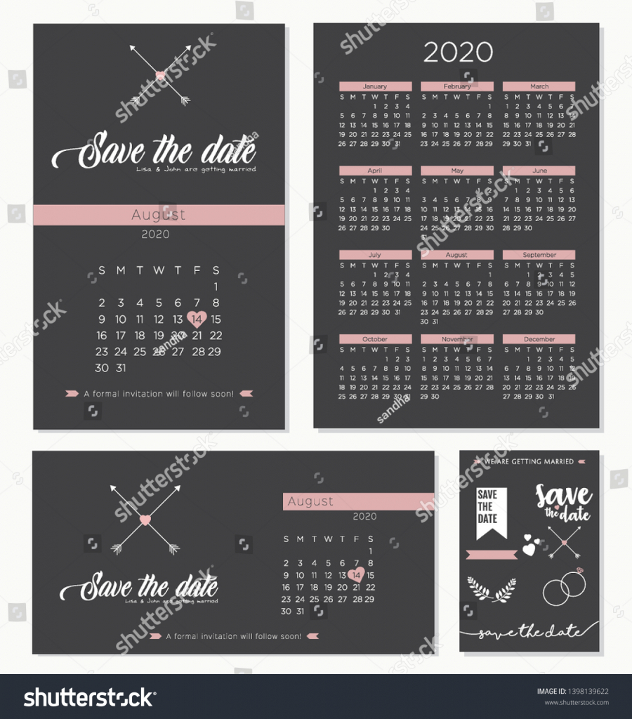 save date wedding invitation calendar 2020 stock vector save the date calendar template 2020