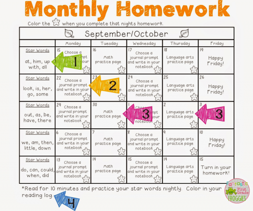 slobbery first grade homework packets printable batess first grade homework calendar printable