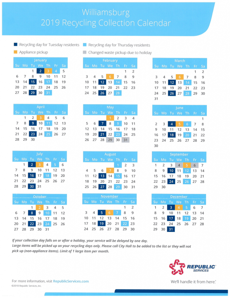 utilities williamsburg ia official website republic services recycling schedule calendar