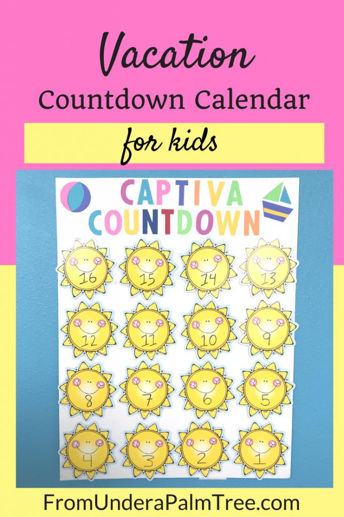 vacation countdown calendar for kids kids calendar kids vacation calendar