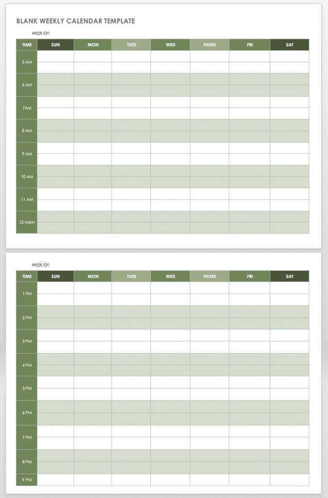 15 free weekly calendar templates smartsheet 5am club printable weekly hourly schedule 1