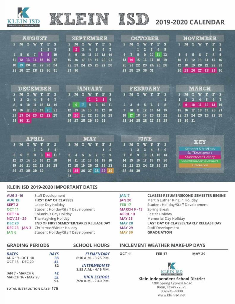 16 best school images in 2019 2020 best national klein isd calendar 2020