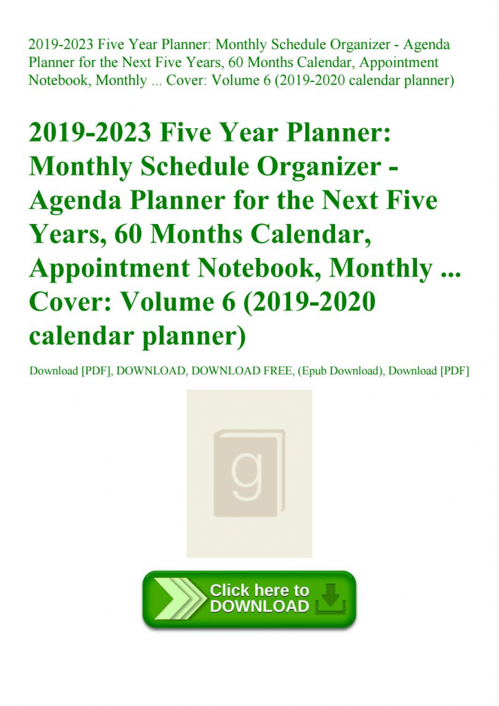 2019 2023 Five Year Planner Monthly Schedule Organizer Five Year Planner Calendar 1