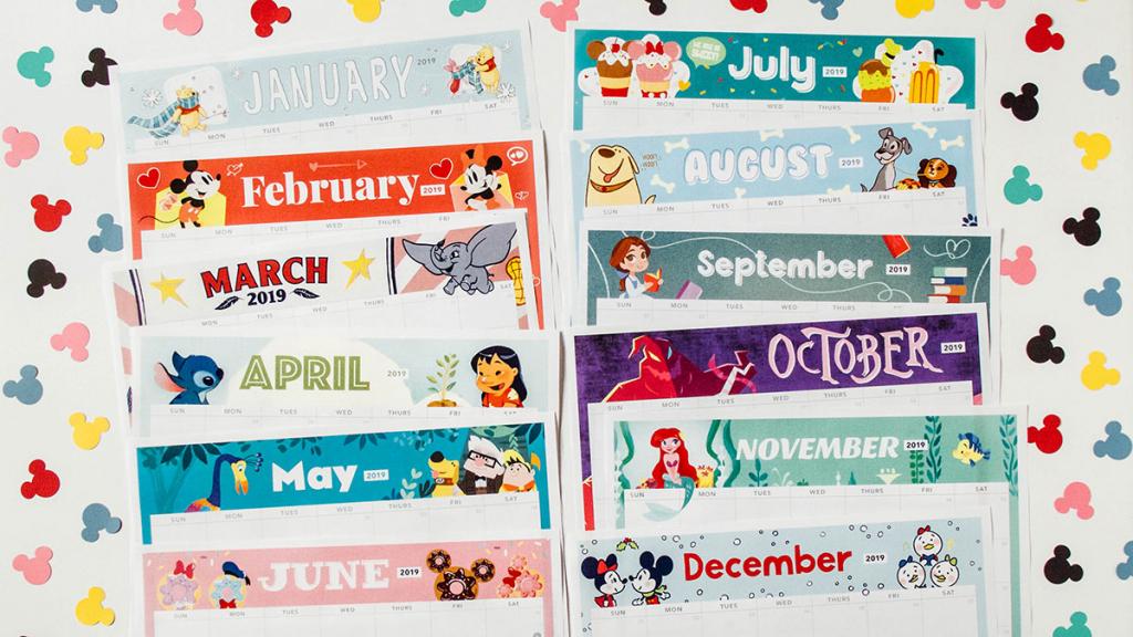2019 printable calendar featuring disney art disney family disney full year calendar print out 1