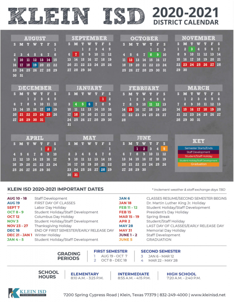 2020 2021 klein isd district calendar released klein isd klein isd calendar 2020 1