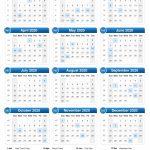 2020 Calendar Calendar 2020 With Day Count 2