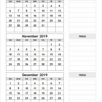 3 Month Calendar October November December 2019 Printable Printable Three Month Calendar Template