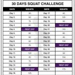 30 Squat Challenge Printable Calendar Chart Legs Workout 30 Day Squat Printable Calendar