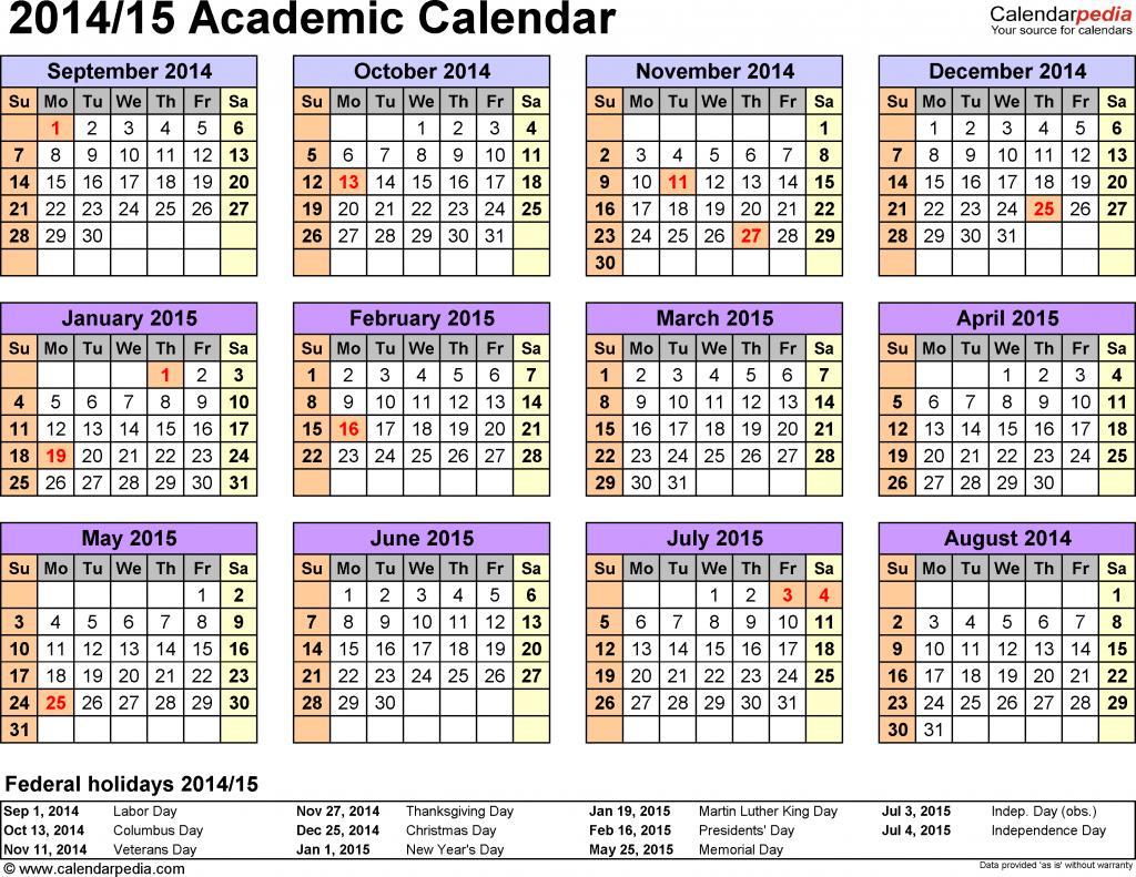 academic calendars 20142015 free printable pdf templates free printed academic calendar for teacher at one glance