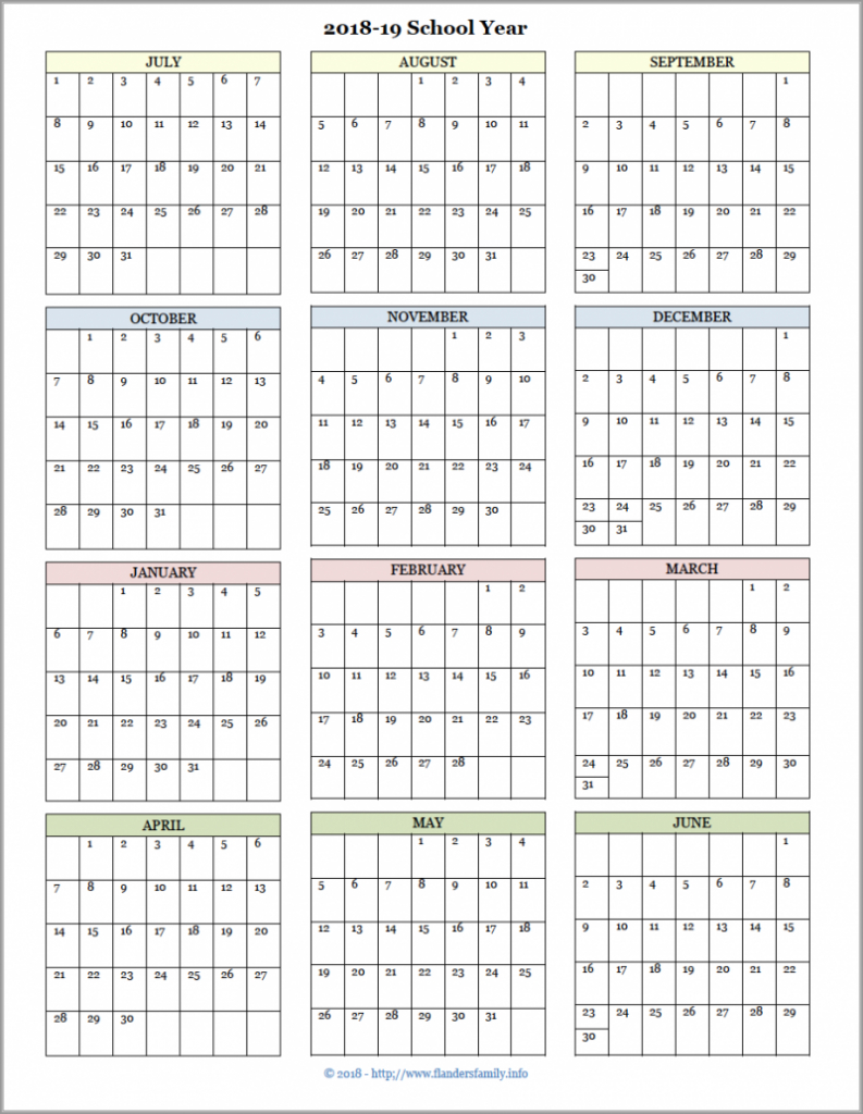 academic calendars for 2018 19 school year free printable free printed academic calendar for teacher at one glance