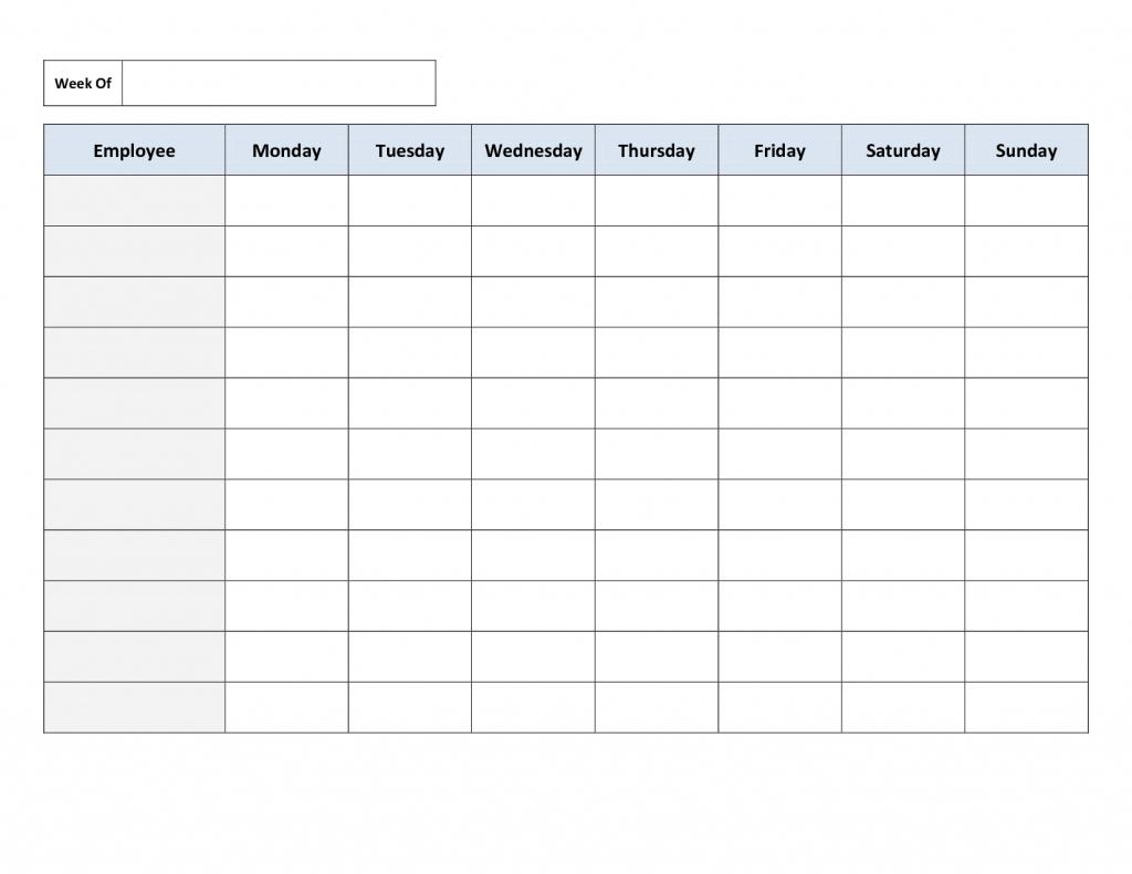 blank weekly work schedule template daily schedule one week schedule printable