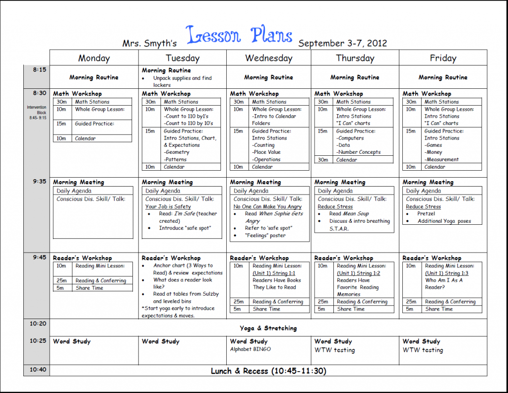 first week lesson plans first grade lesson plan examples of calendar lesson plans