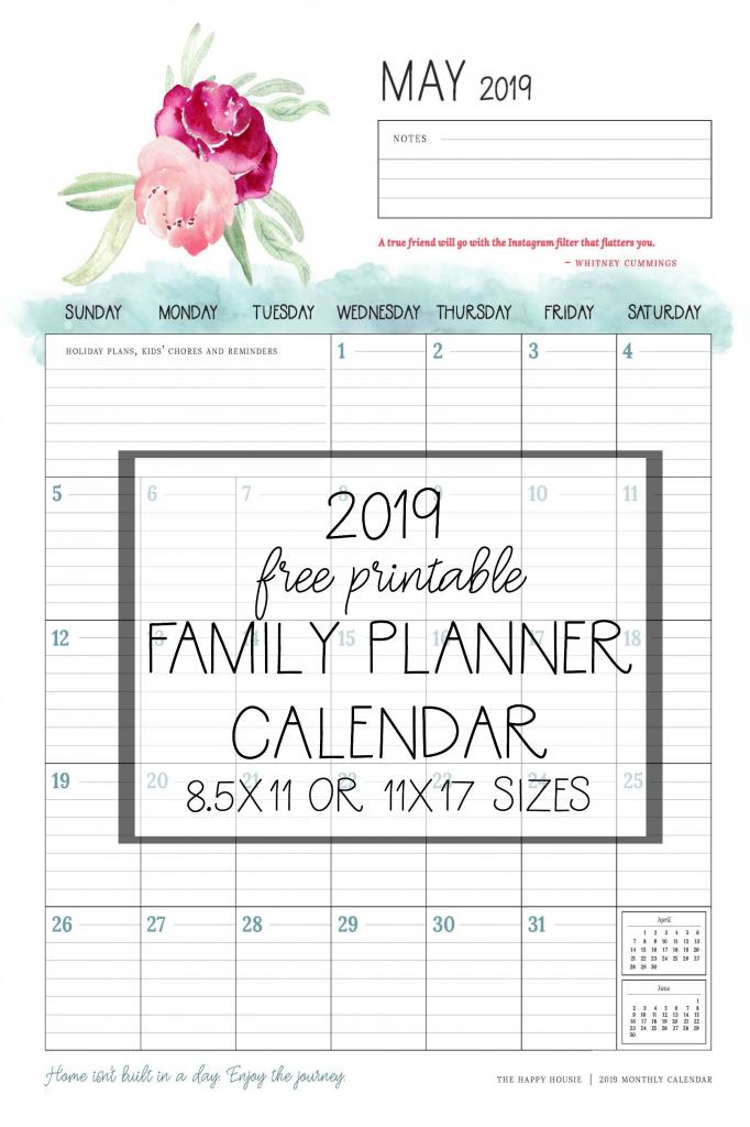 free 2019 printable calendar family planner organizer organizer calendars to print