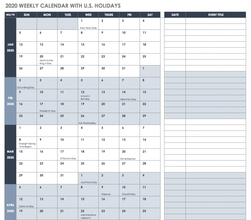 free blank calendar templates smartsheet running calendar template