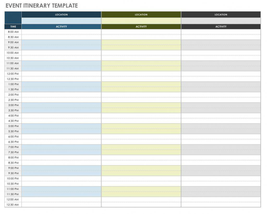 free itinerary templates smartsheet 1 week itnerary calendar