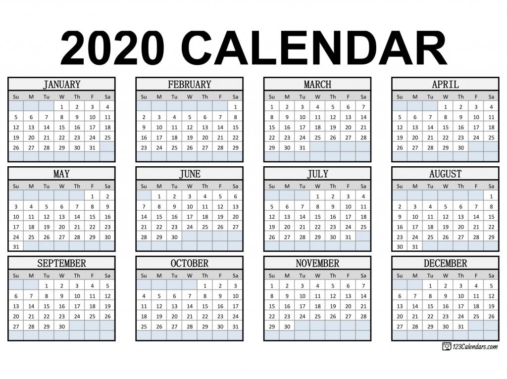free printable 2020 calendar 123calendars free printable wallet size calendars