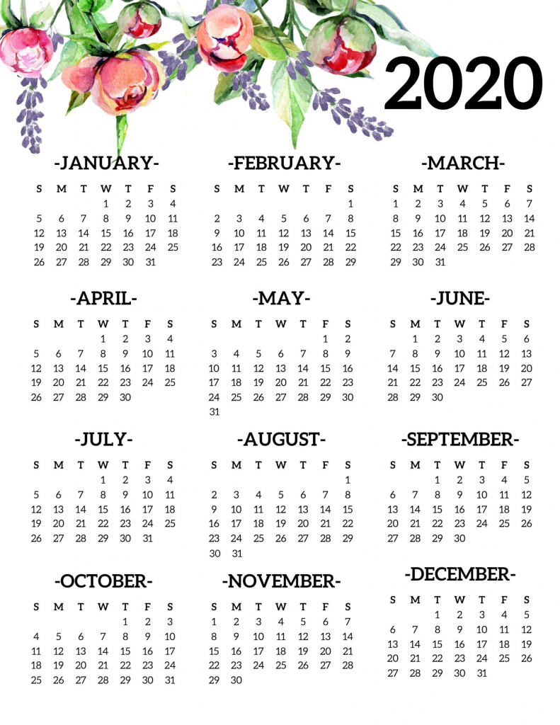 free printable 2020 calendar yearly e page floral 2020 8 5x11 free july 2020 printable calendar