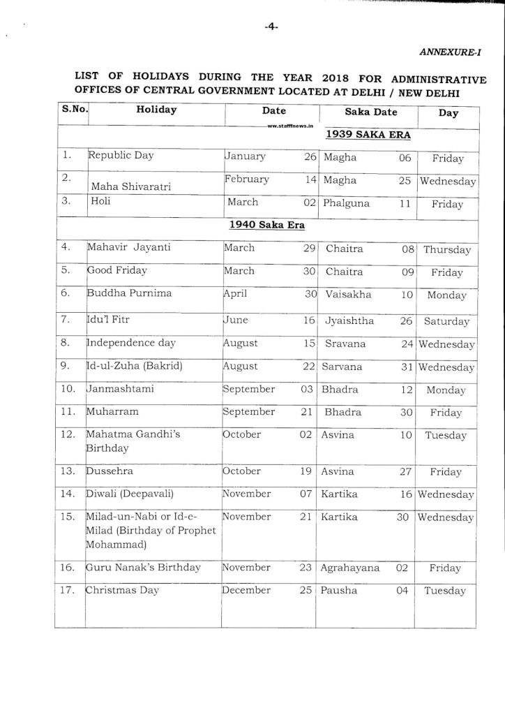 holidays to be observed in central government offices during appellate department holidays