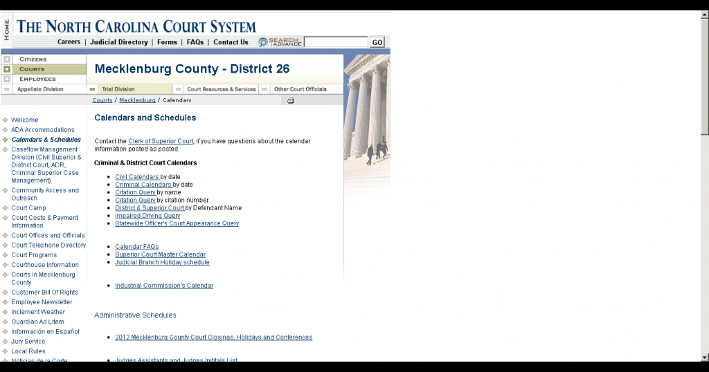 how do i find my court date if i dont have my ticket nc district and superior court calendars