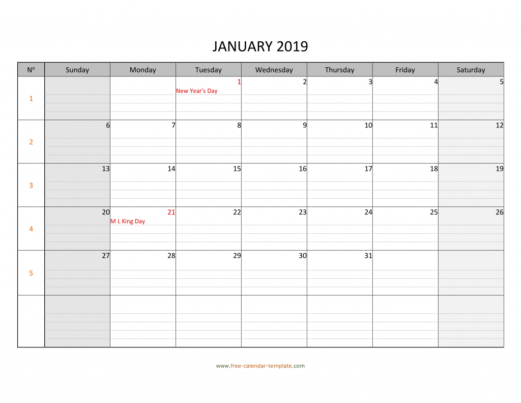 monthly 2019 calendar free printable with grid lines calendar for the week with lines