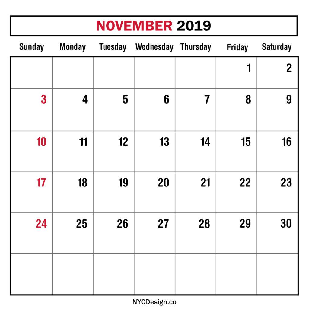 monthly calendar november 2019 monthly planner printable organizer calendars to print