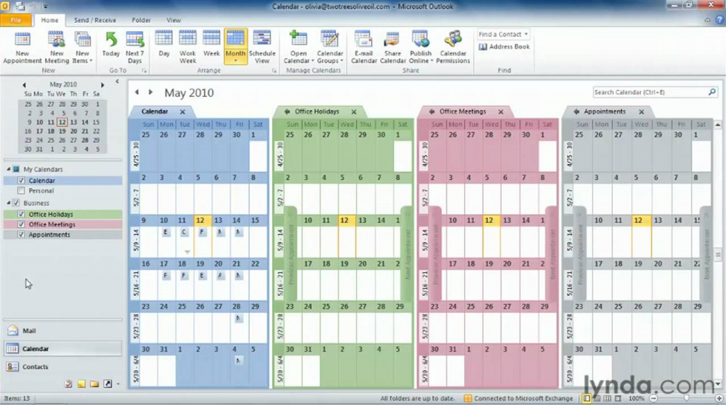 outlook tutorial how to work with multiple calendars lynda outlook calendaring crash course