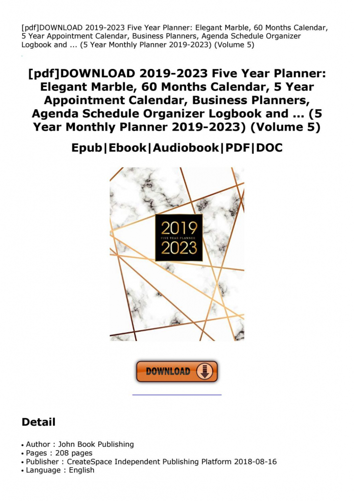 Pdfdownload 2019 2023 Five Year Planner Elegant Marble 60 Five Year Planner Calendar
