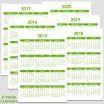 Printable 2015 To 2020 Yearly Calendar 8 12 X 11 The 5 Yr Calendar Printable