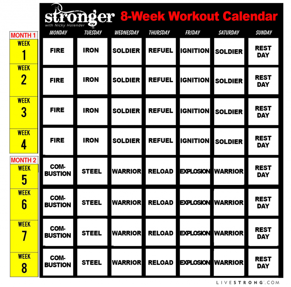 printable 8 week workout calendar and 10 free workout videos printable 8 week calendar