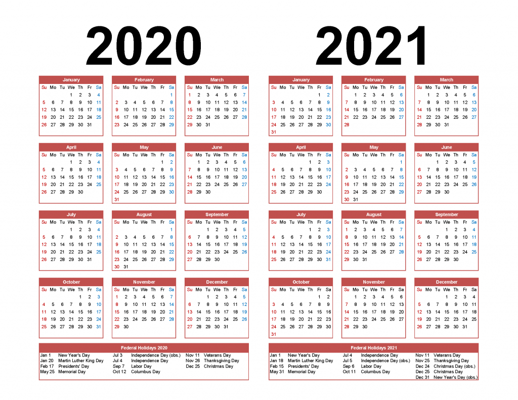 printable calendar 2020 2021 two year per page free pdf holiday calendar next five years