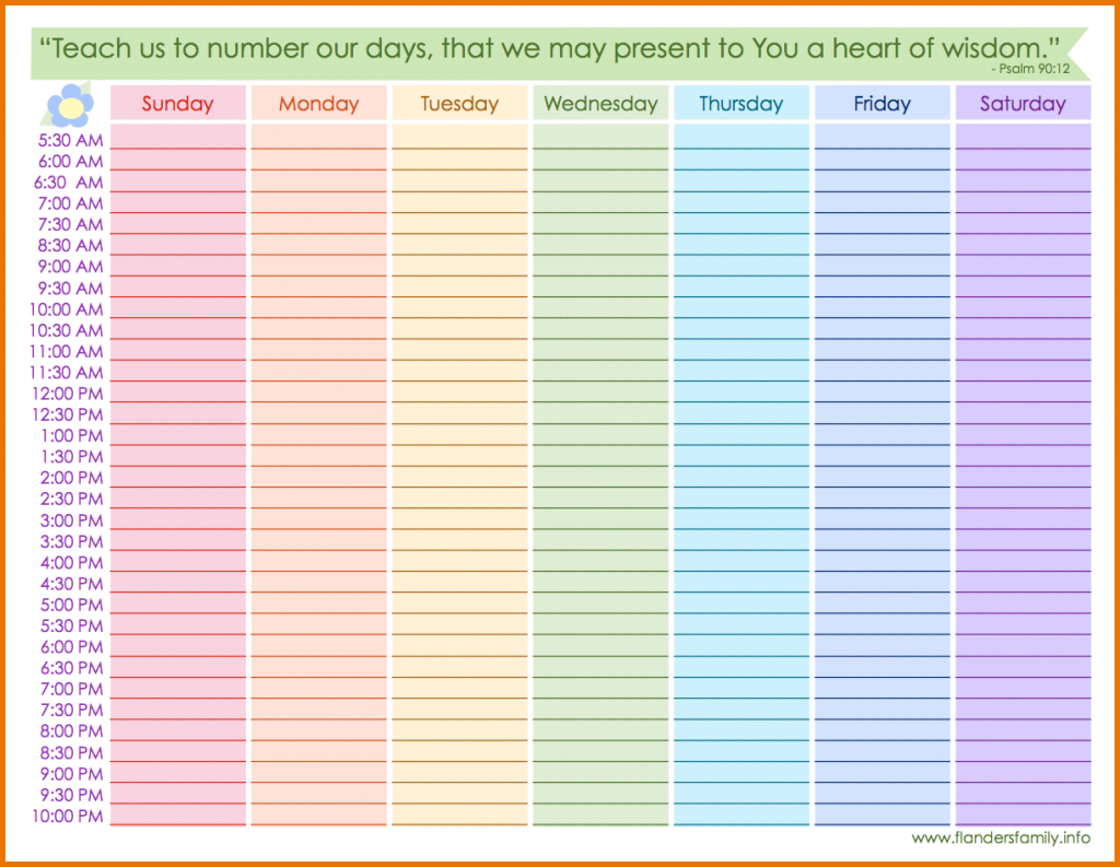 printable weekly calendar with hoursweekly schedule template calendars with hours