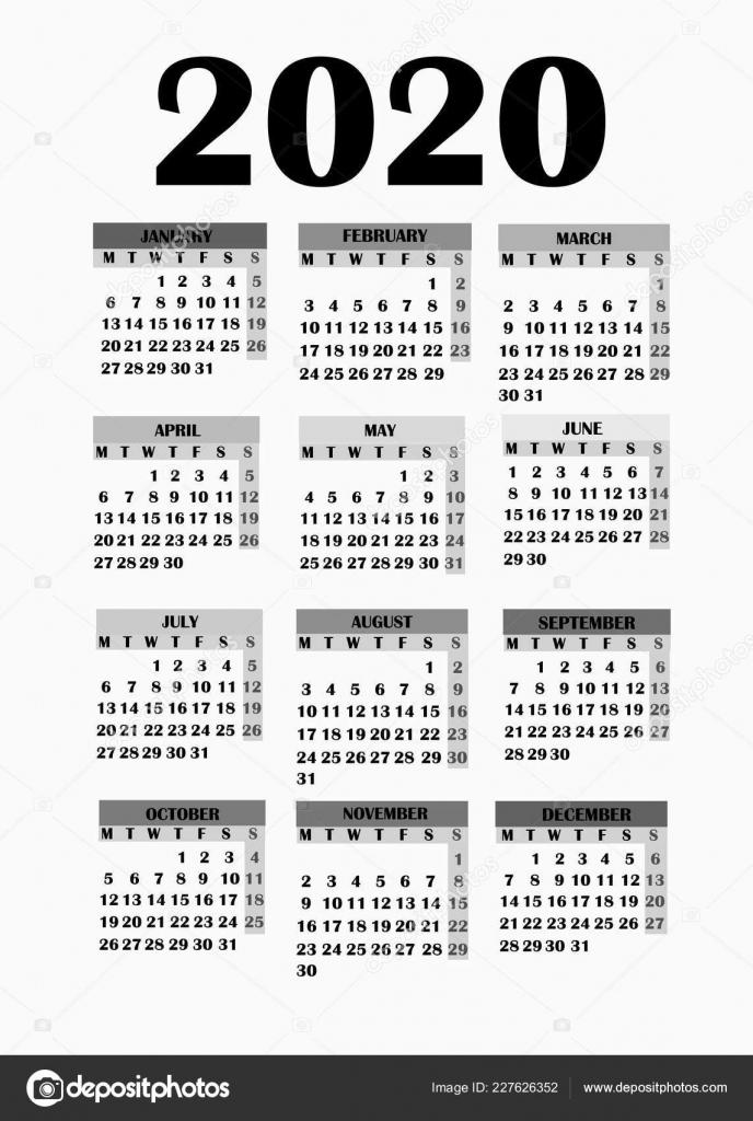 Simple Design For Calendar 2020 Stock Photo Innabelavi 2020 Calendar 10000 Year