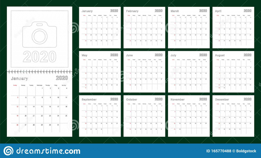 simple wall calendar 2020 year with dotted lines the calendar for the week with lines