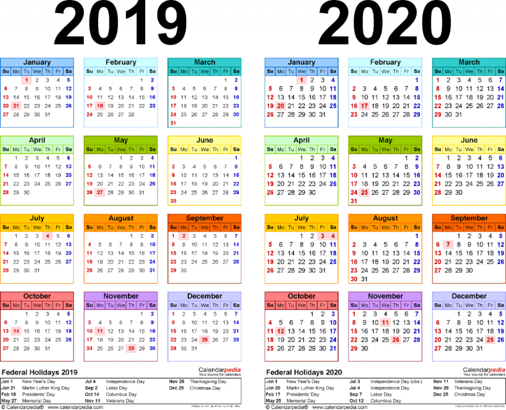 template 2 pdf template for two year calendar 20192020 printable wallet size callendar 2020