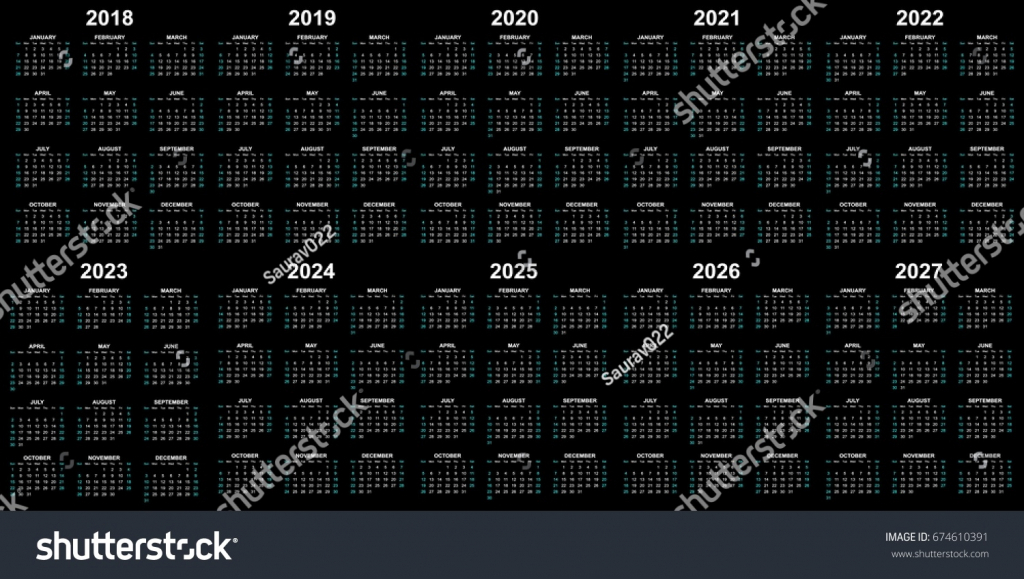 ten year calendar 2018 2019 2020 stock vector royalty free ten year calendar 1