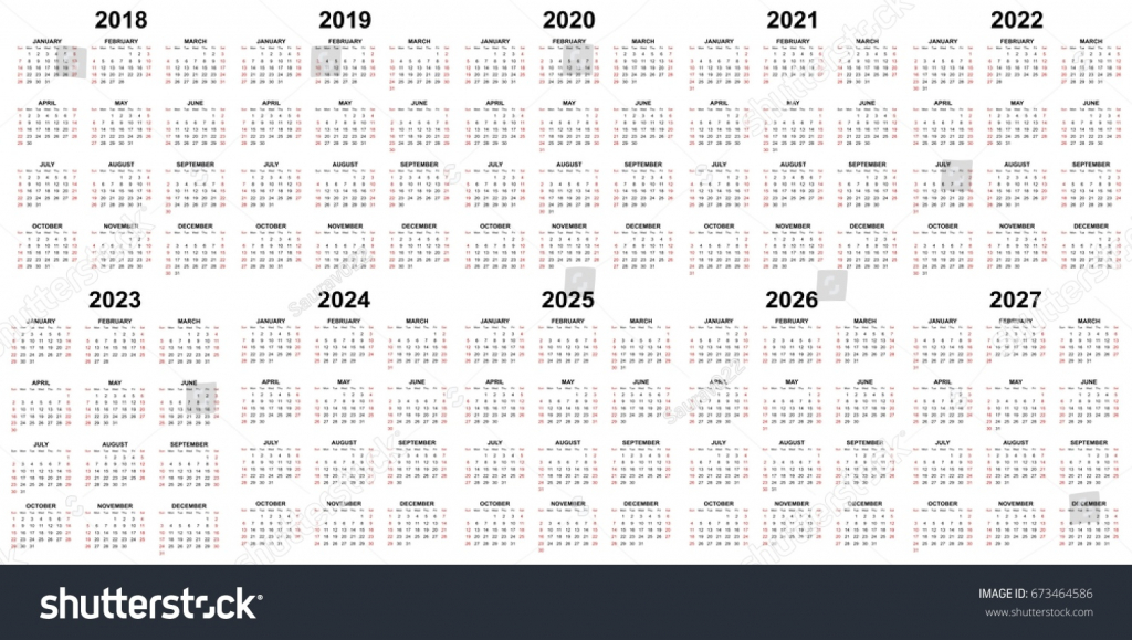 ten year calendar 2018 2019 2020 stock vector royalty free ten year calendar