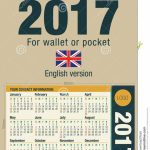 Useful Card Calendar 2017 For Wallet Or Pocket Size 90mm X Full Calend Wallet Size