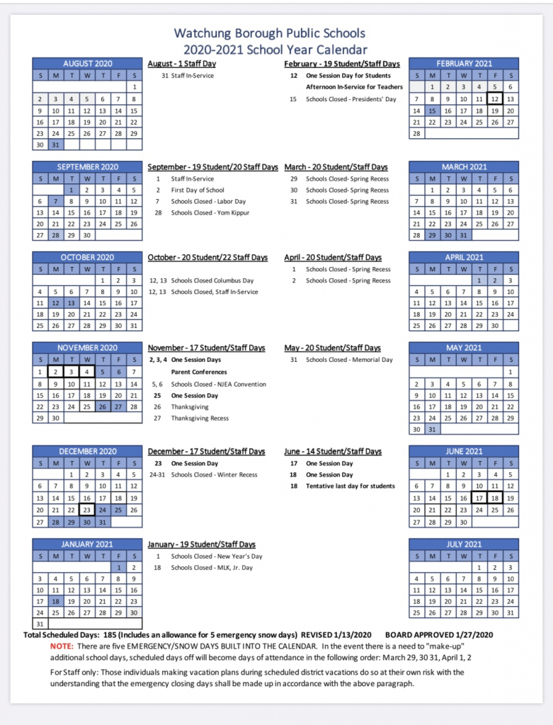 watchung board of education approves 2020 21 calendar tapinto lawn care calendar nj 2020
