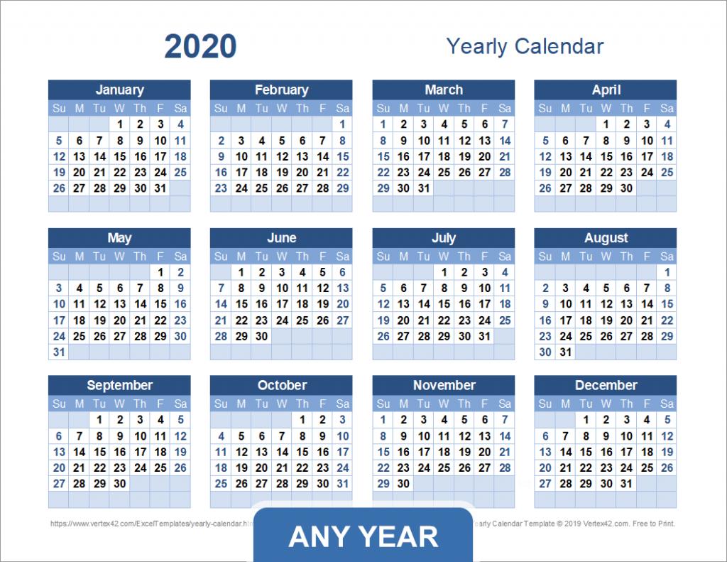 yearly calendar template for 2020 and beyond 5 yr calendar printable