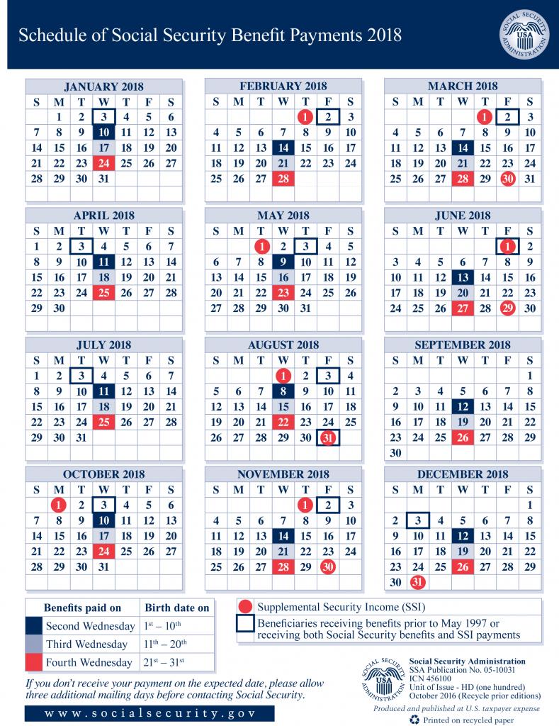2018 social security payment schedule smith godios sorensen benefit calendar disability