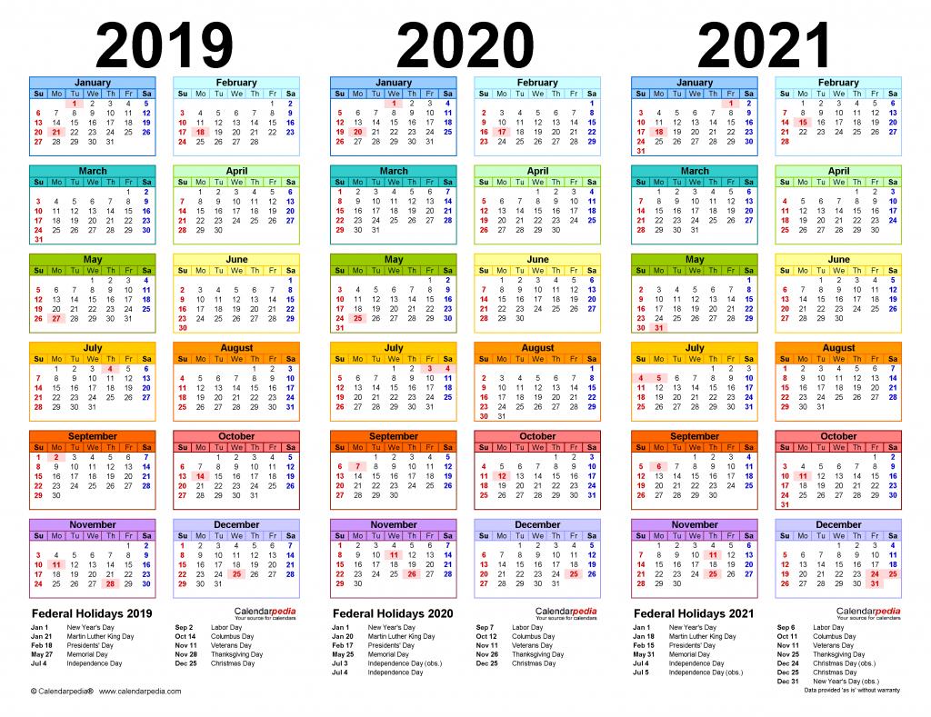 2019 2021 Three Year Calendar Free Printable Pdf Templates Free Printable Multi Year Calendar