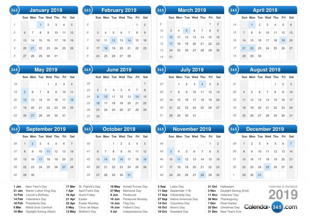 2019 calendar printable calendar with day count